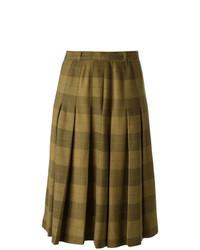 Falda midi a cuadros marrón