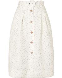 Falda midi a lunares blanca