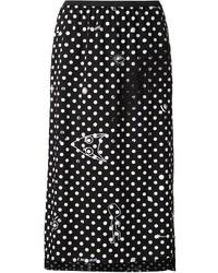 Falda midi a lunares en negro y blanco de MM6 MAISON MARGIELA