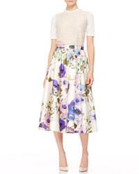 Falda midi con print de flores blanca