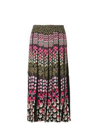 Falda midi con print de flores en multicolor