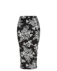 Falda midi con print de flores en negro y blanco