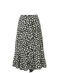 Falda midi con print de flores en negro y blanco de Proenza Schouler