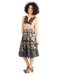 Falda midi con print de flores gris