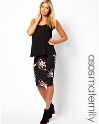 Falda midi con print de flores negra de Asos Maternity