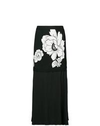 Falda midi con print de flores negra de Boutique Moschino