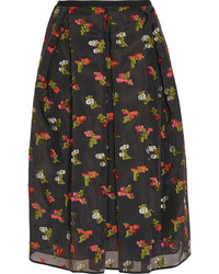 Falda midi con print de flores negra de Erdem