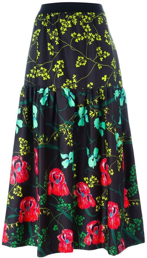 Falda midi con print de flores negra de I'M Isola Marras