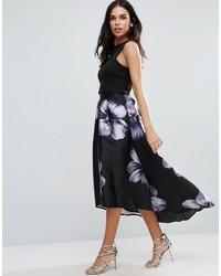Falda midi con print de flores negra de Jessica Wright