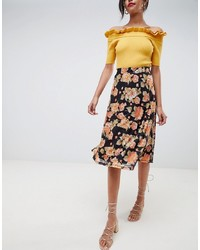 Falda midi con print de flores negra de Vila