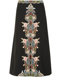 Falda midi con print de flores negra de Vilshenko
