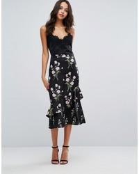 Falda midi con print de flores negra de Warehouse