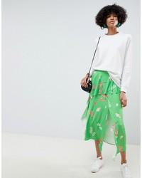 Falda midi con print de flores verde de ASOS DESIGN