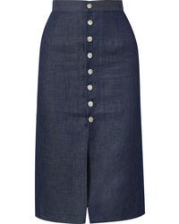 Falda midi con recorte azul marino