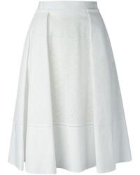 Falda midi con recorte blanca de Salvatore Ferragamo