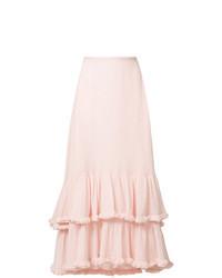 Falda midi con volante rosada