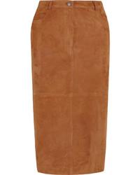 Falda midi de ante marrón