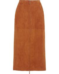 Falda midi de ante marrón de The Row