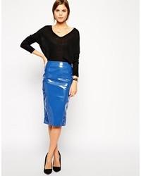 Falda midi de cuero azul
