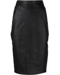 Falda midi de cuero negra