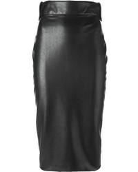 Falda midi de cuero negra de Ermanno Scervino