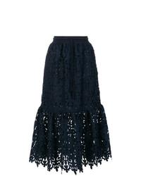 Falda midi de encaje azul marino de See by Chloe