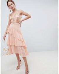 Falda midi de encaje bordada rosada de ASOS DESIGN