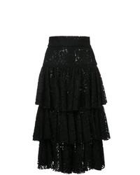 Falda midi de encaje negra de Bambah