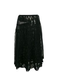 Falda midi de encaje negra de Comme Des Garçons Vintage
