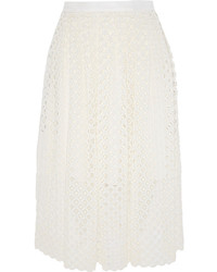 Falda midi de encaje plisada blanca