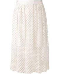 Falda midi de encaje plisada blanca de Lela Rose