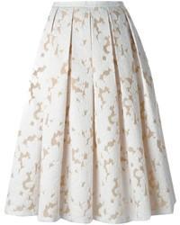 Falda midi de encaje plisada blanca de Michael Kors