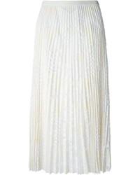 Falda midi de encaje plisada blanca de Sea