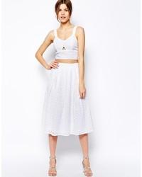 Falda midi de encaje plisada blanca de Warehouse