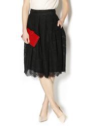 Falda midi de encaje plisada negra