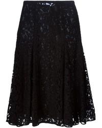 Falda midi de encaje plisada negra de MICHAEL Michael Kors