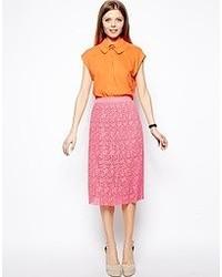 Falda midi de encaje rosa