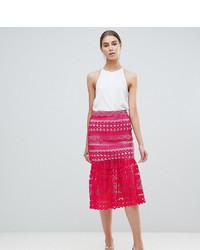 Falda midi de encaje rosa de Asos Tall