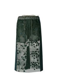 Falda midi de encaje verde oscuro