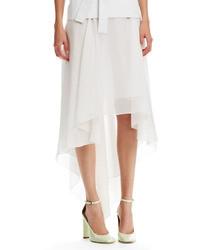 Falda midi de gasa blanca