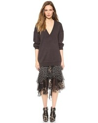 Falda midi de gasa con print de flores negra de Jason Wu