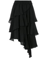 Falda midi de gasa con volante negra de Etoile Isabel Marant