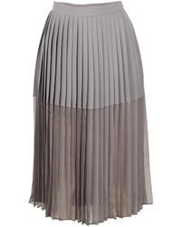 Falda midi de gasa plisada gris