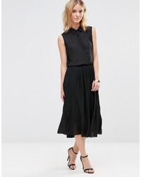 890767af1 Comprar una falda midi de gasa plisada negra: elegir falda midi de ...