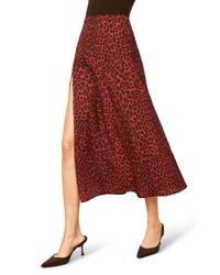 Falda midi de leopardo burdeos