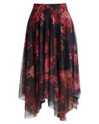 Falda midi de malla con print de flores negra de New Look