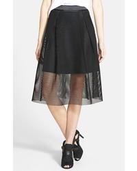 Falda midi de malla negra