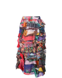 Falda midi de patchwork en multicolor de Comme des Garcons