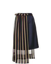 Falda midi de rayas verticales azul marino de GUILD PRIME
