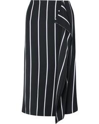 Falda midi de rayas verticales en negro y blanco